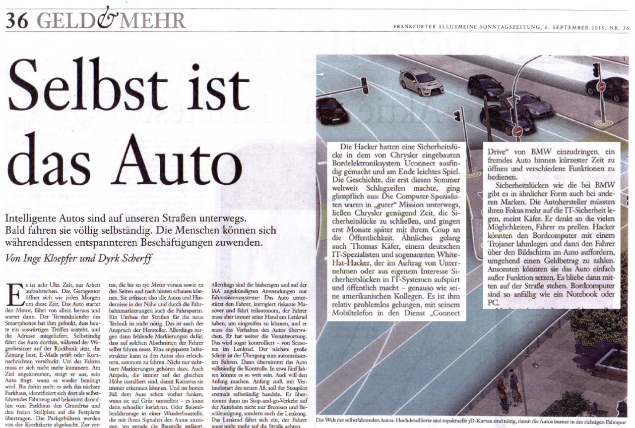 Selbst ist das Auto - Interessanter Überblicksartikel in der FAZ vom 06.09.2015