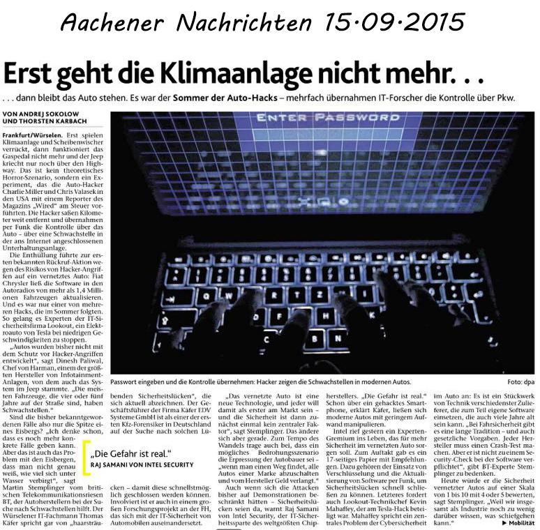 Berichterstattung in den Aachener Nachrichten vom 15.09.2015