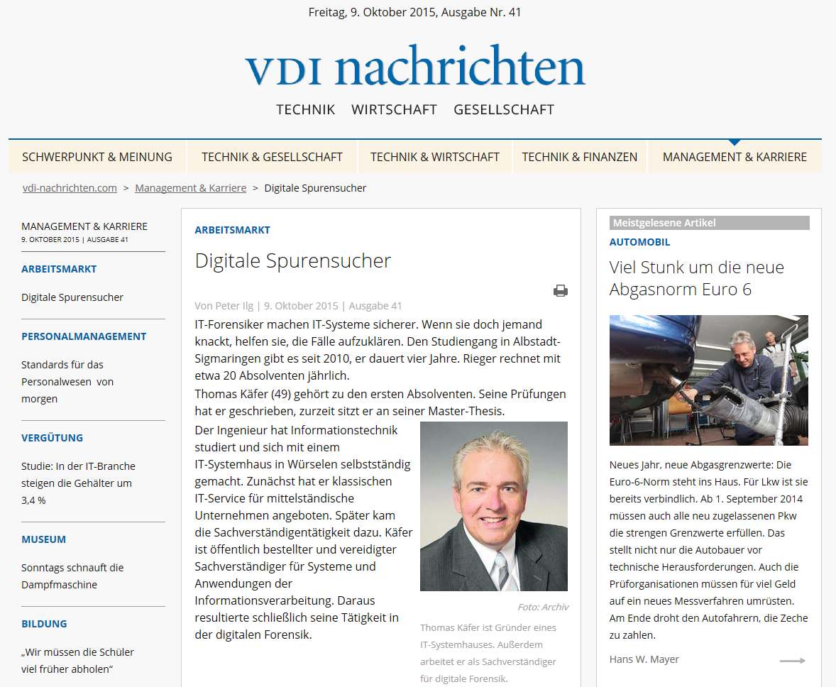 Berufsporträt Digitaler Forensiker in den VDI Nachrichten