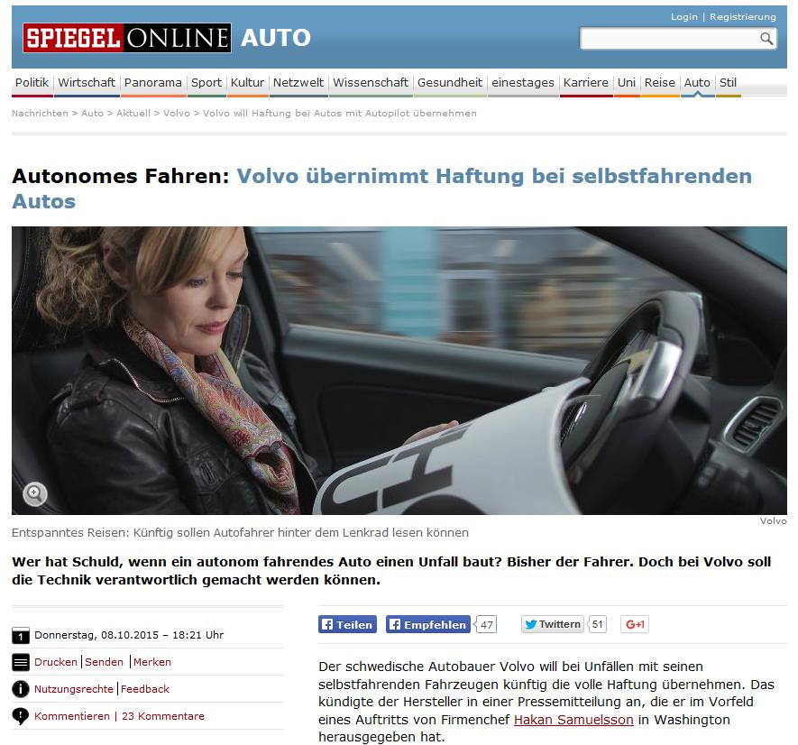 Autonomes Fahren: Volvo übernimmt Haftung bei selbstfahrenden Autos