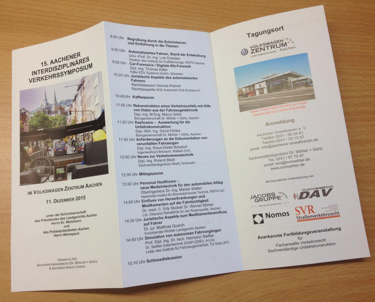15. Aachener Interdisziplinäres Verkehrssymposium am 11.12.2015 im Volkswagen Zentrum Jacobs Aachen Trierer Straße