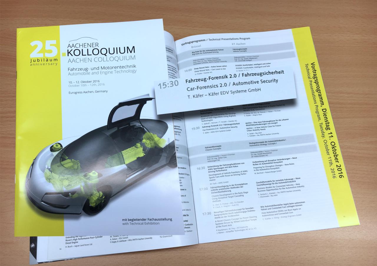 Dipl.-Ing. Thomas Käfer, M.Sc. mit dem Thema Car-Forensics 2.0 beim 25. Aachener Kolloquium der RWTH Aachen
