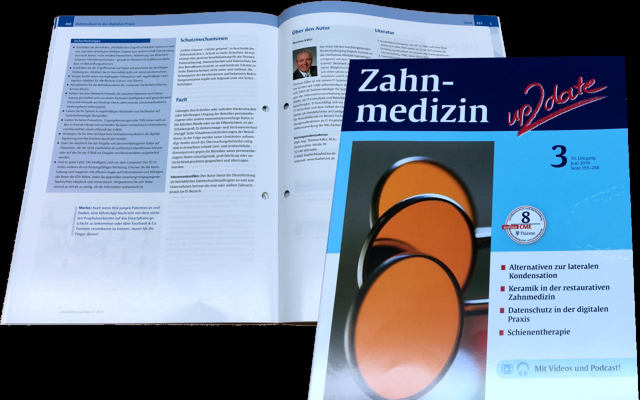Datenschutz in der digitalen Praxis - Zahnmedizin up2date 3-2016 - erschienen im Thiemeverlag Juni 2016