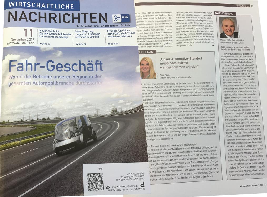 Car-Forensics und Käfer IT in den Wirtschaftlichen Nachrichten 11/2016 der IHK Aachen