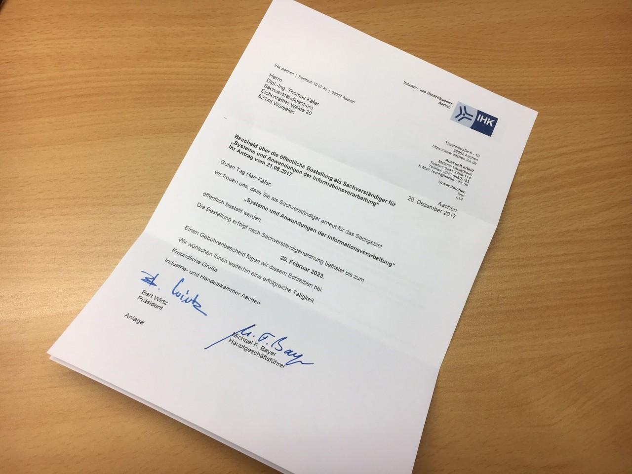 Öffentliche Bestellung für weitere fünf Jahre verlängert