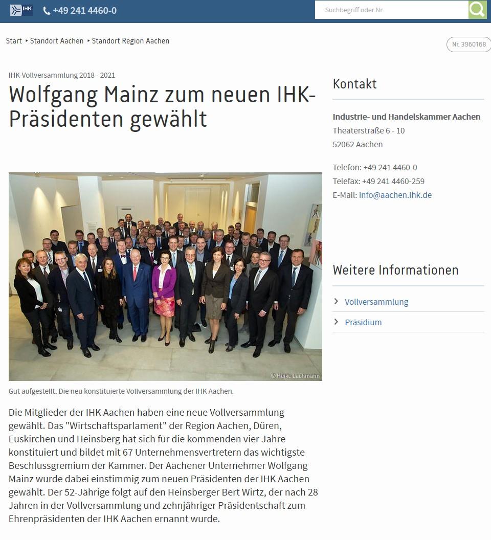 Mitglied der Vollversammlung der IHK Aachen 2018-2021