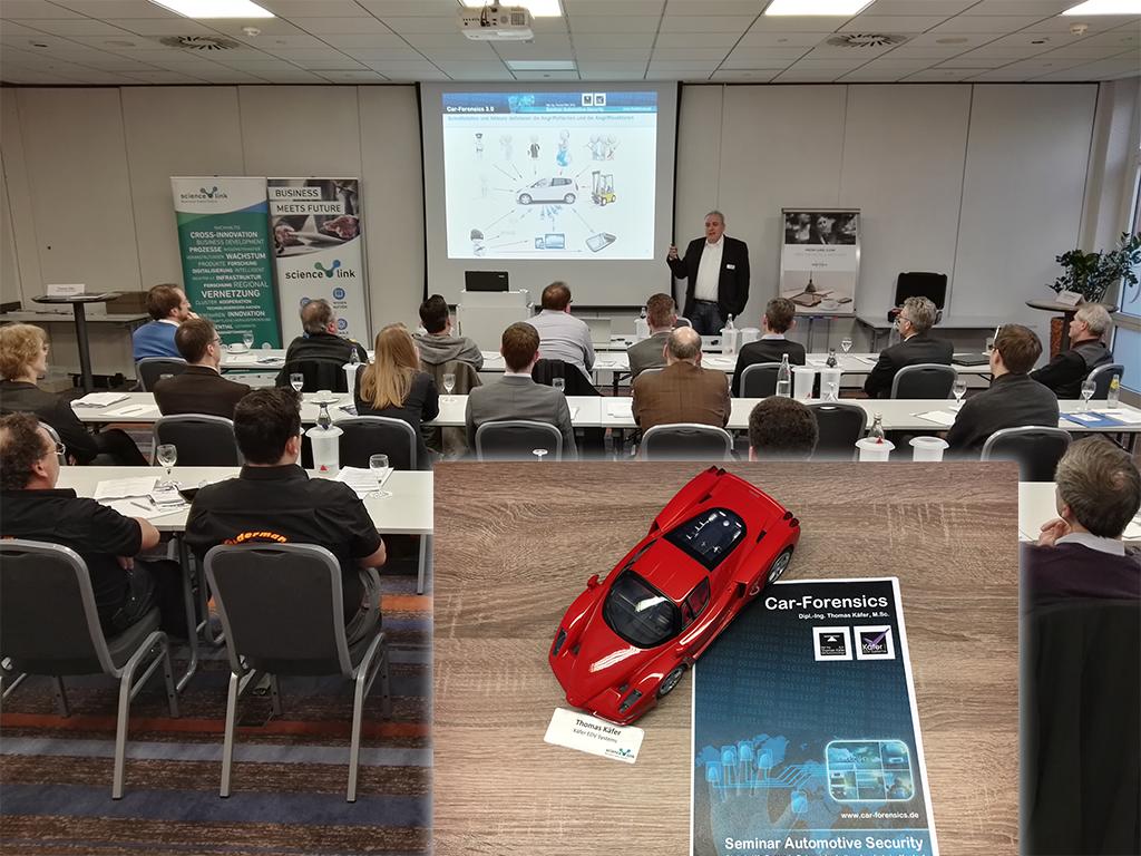 "Car-Forensics beim ScienceLink: Networking 4.0 ""Datensicherheit bei autonomem Fahren"" am 19.03.2018 in Aachen"