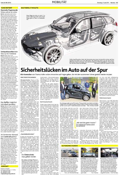 Berichterstattung über Car-Forensics in den Aachener Nachrichten vom 21.07.2015
